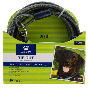 Top Paw® Dog Tie Out size: 20 Ft, Gray
