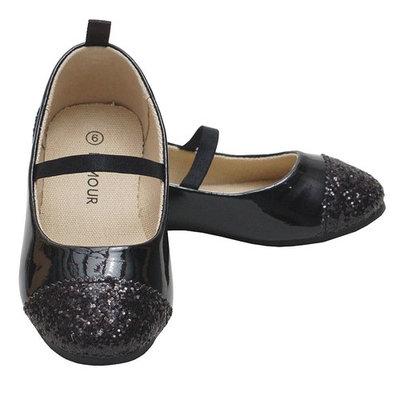 L'Amour Black Glitter Heel Toe Mary Jane Style Shoe Toddler Girl 5-Little Girl 4
