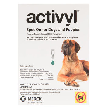 Activyl Dog 89-132 Lb Dog Flea and Tick Dog Treatment size: 3 Count