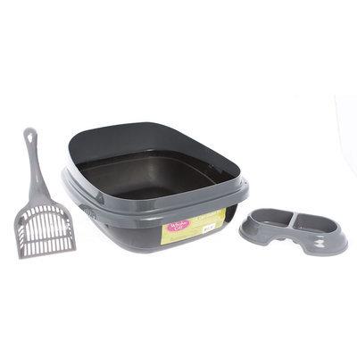 Whisker City® Starter Kit Cat Litter Box, Gray & Black