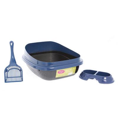 Whisker City® Starter Kit Cat Litter Box, Blue & Black
