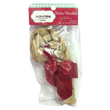 Pet Holiday Dentley's Festive Rawhide Dog Treat - Peanut Butter