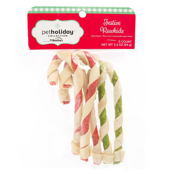 Pet Holiday, Dentley's® Festive Rawhide Twist Cane Dog Treat size: 5 Count
