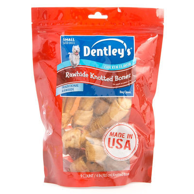 Dentley's® Rawhide Knotted Bones Small Dog Treat - Chicken size: 4 in