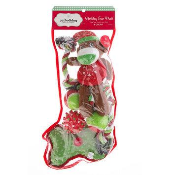 Pet Holiday, Sock Monkey Stocking 8-Pack Dog Toy