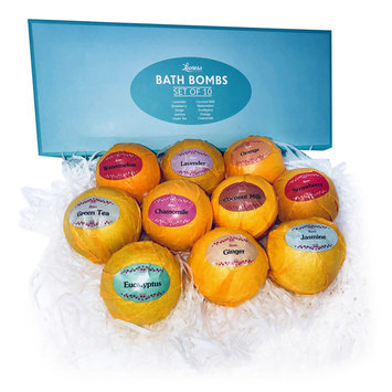Bath Bombs Gift Set – Ten (10) Unique Scents in One Box – Aromatherapy – Relaxation in a Box