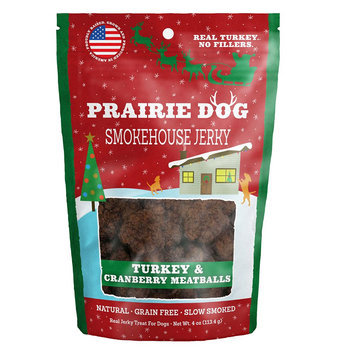 Prairie Dog Prarie Dog Smokehouse Jerky Dog Treat - Natural, Grain Free, Turkey and Cranberry Meatballs size: 4 Oz