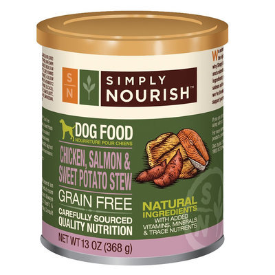 Simply Nourish, Dog Food - Natural, Grain Free, Chicken, Salmon and Sweet Potato Stew size: 13 Oz