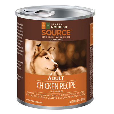 Simply Nourish, Source Adult Dog Food - Grain Free, High Protein, Chicken size: 13 Oz