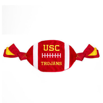 Pets First University of Southern California Trojans Ncaa Flattie Crinkle Football Dog Toy