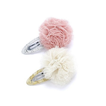 Peppercorn Kids Girls 2PC Tulle Pompom Hair Clip (Mauve / Ivory)
