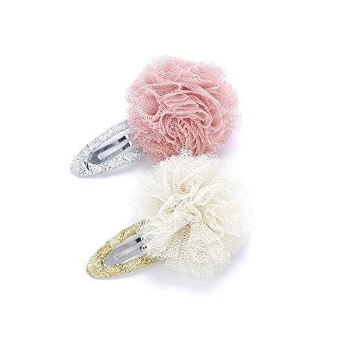 Peppercorn Kids Girls 2PC Tulle Pompom Hair Clip (Mauve / Ivory)