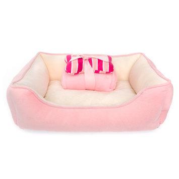 Top Paw® Gift Set Solid Cuddler Dog Bed, Pink