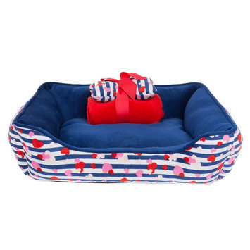 Top Paw® Gift Set Hearts Cuddler Dog Bed