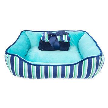 Top Paw® Gift Set Stripe Cuddler Dog Bed, Turquoise