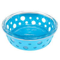 Top Paw® Glass w/ Silcone Cover Dog Bowl, Blue