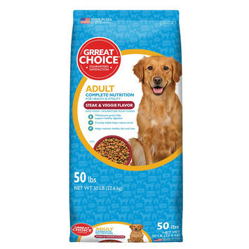 Grreat Choice® Complete Nutrition Adult Dog Food - Steak and Veggie size: 50 Lb
