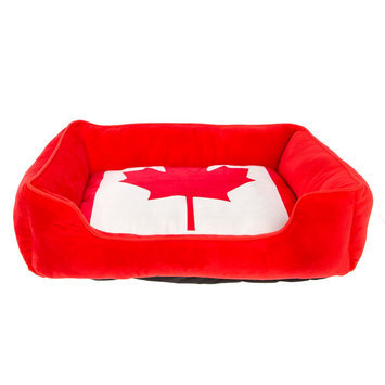 Top Paw® Canada Flag Cuddler Dog Bed