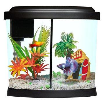 Top Fin® 1 Gallon Liquidy Split Aquarium, Black