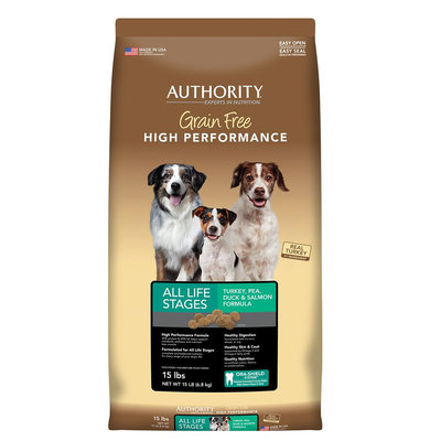 Authority Grain Free High Performance Dog Food - Turkey, Pea, Duck and Salmon size: 15 Lb