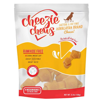 Cheezie Chews Rawhide Free Medium Dog Treat - Cheese size: 4 Count