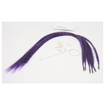 Wholesale New Generation Removable Colored Colorful Hair Extension Extensions Grizzly Synthetic Feather Free Shipping Purple/Black