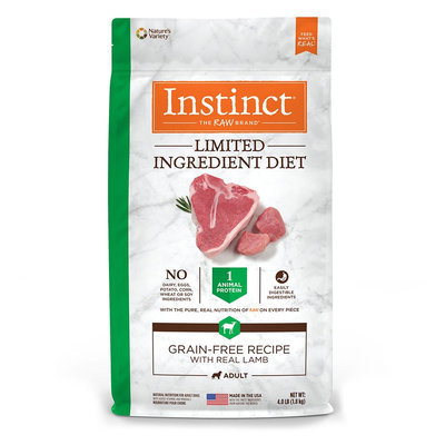 Natures Variety Instinct Nature's Variety Instinct Limited Ingredient Diet Adult Dog Food - Natural, Grain Free, Raw, Lamb size: 4 Lb