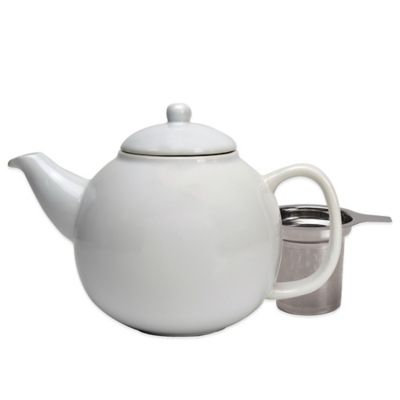 Primula Ceramic Teapot with Stainless Steel Infuser in White