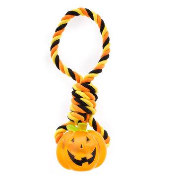 Thrills and Chills, Halloween Rope Pumpkin Dog Toy - Plush, Rope, Squeaker, Thrills & Chills