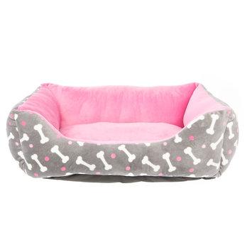 Grreat Choice Bone Print Cuddler Pet Bed, Pink & Gray