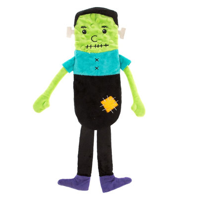 Thrills and Chills, Halloween Flattie Frankenstein Dog Toy - Plush, Crinkle, Thrills & Chills