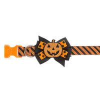 Thrills and Chills, Halloween Pumpkin Bow Tie Dog Collar size: X Small, Thrills & Chills