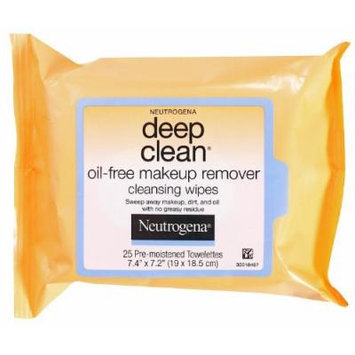 Neutrogena Deep Clean Oil Free Makeup Remover Cleansing Wipes, 25 Count (Pack of 2)
