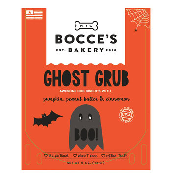 Bocce's Bakery Ghost Grub Dog Treat - Natural, Pumpkin, Peanut Butter and Cinnamon size: 5 Oz