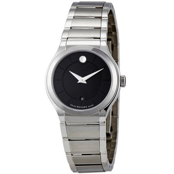 Movado Quadro Black Dial Stainless Steel Ladies Watch 0606493