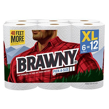 Brawny Paper Towels, 6 XL Rolls, Pick-A-Size, White, 6 = 12 Regular Rolls