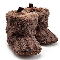 Highdas Baby Shoes Infants Crochet Knit Fleece Boots Toddler Girl Boy Wool Snow Crib Shoes Winter Booties