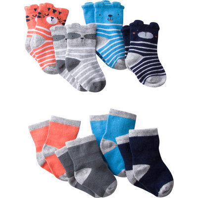 Baby Boy Wiggle-Proof Jersey Ankle Bootie Socks, 8-pack [baby_clothing_size: baby_clothing_size-6-12m]