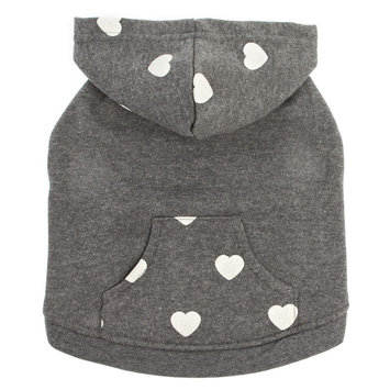 Top Paw Heart Fleece Pet Hoodie size: Small, Gray