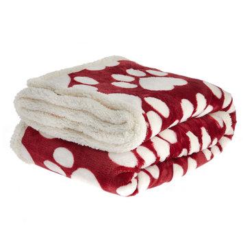 PetSmart Holiday Heart Paws Pet Blanket size: 50