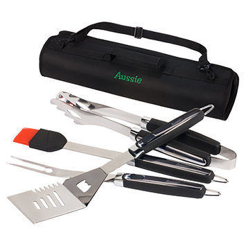 Aussie By Meco 4 Pc Utensils Tool Set in Black and Chrome Finish