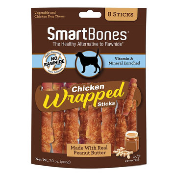 SmartBones Chicken Wrapped Sticks Large Dog Treat - Peanut Butter size: 8 Count