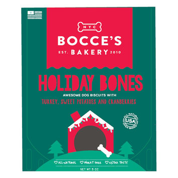 Bocce's Bakery Holiday Bones Dog Treat - Natural, Turkey, Sweet Potato and Cranberries size: 5 Oz