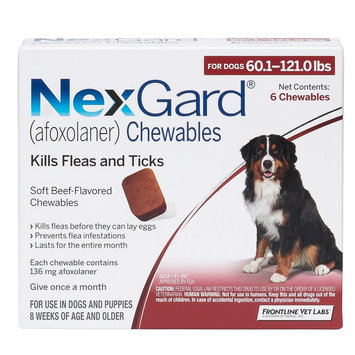 NexGard for Dogs - 6 Pack size: 60.1-121 lbs