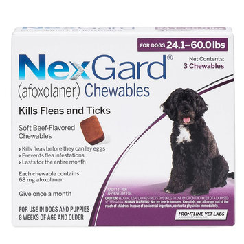 NexGard for Dogs - 3 Pack size: 24.1-60 lbs