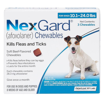 NexGard for Dogs - 3 Pack size: 10.1-24 lbs