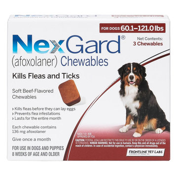 NexGard for Dogs - 3 Pack size: 60.1-121 lbs