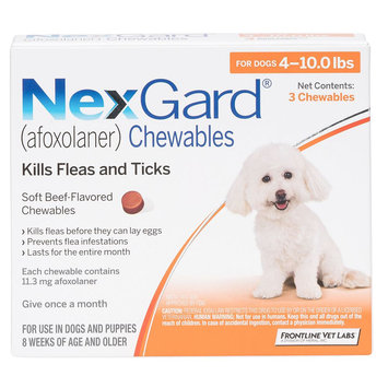 NexGard for Dogs - 3 Pack size: 4-10 lbs
