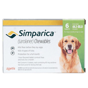 Simparica for Dogs - 6 Pack size: 44.1-88 lbs