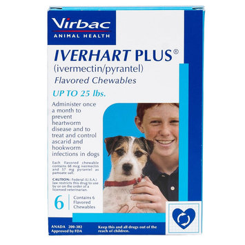 Iverhart Plus Chewable Tablets for Dogs - 6 Pack size: 1-25 lbs